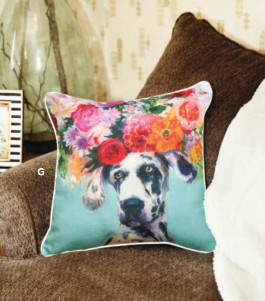 Dogs in Bloom Great Dane Floral Throw Pillow | SLDIBD