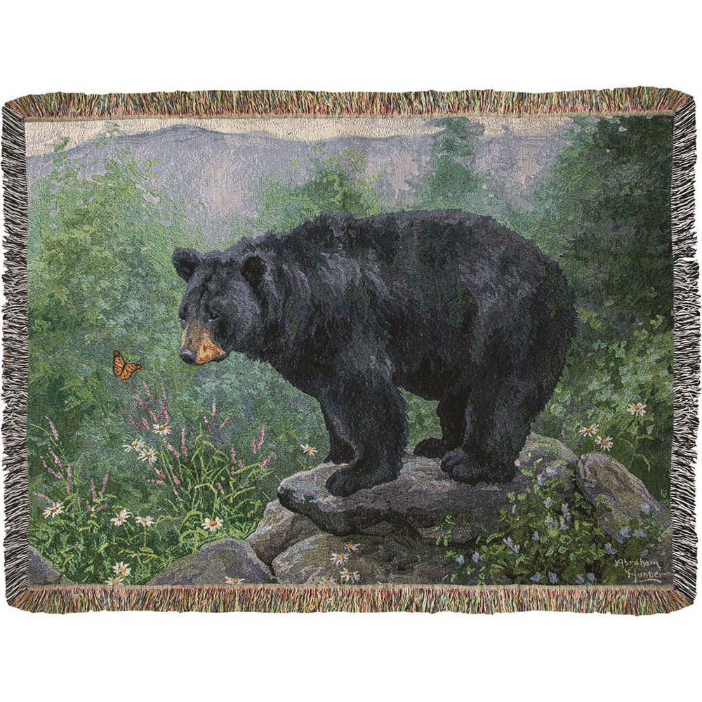 Black Bear Butterfly Watching Tapestry Throw Blanket   Manual Woodworkers   ATBWB