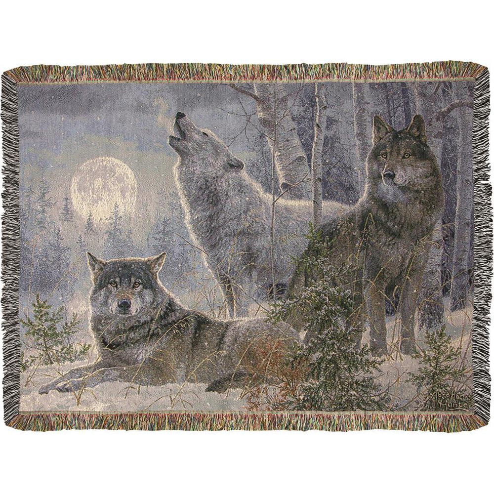 Winter Moonrise Wolves Tapestry Throw Blanket   Manual Woodworkers   ATWMW