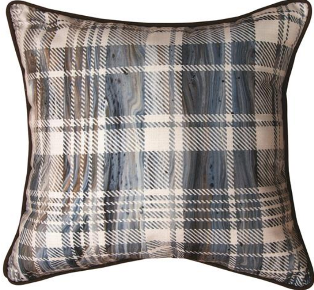 "Bear ""Lodge Fluidity"" Reversible Plaid Throw Pillow | SLLOBB"