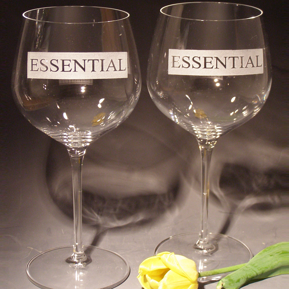 Essential Etched Crystal 18 oz Wine Glass Set of 2   Evergreen Crystal   613Ess