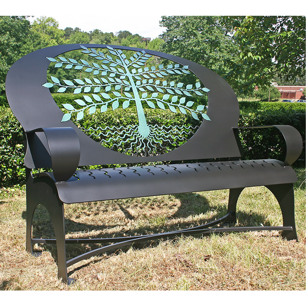 Tree of Life Black Steel Bench   Cricket Forge   B021-black