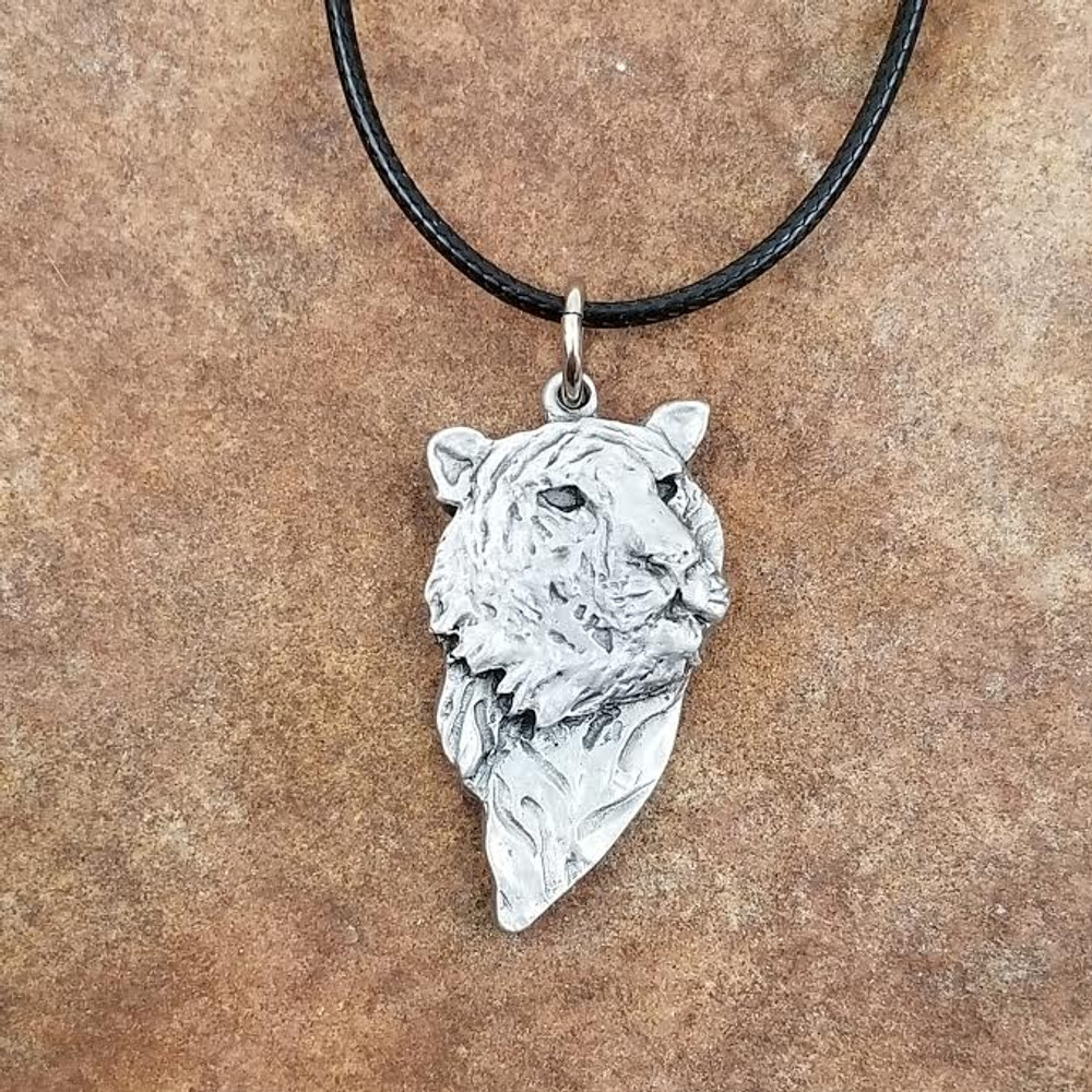 Tiger Face Pewter Pendant Necklace   Andy Schumann   SCHTIGERPEND