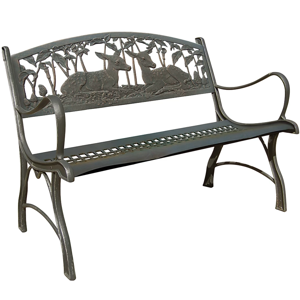 Fawns Cast Iron Loveseat Garden Bench | Painted Sky | PBLS-FN
