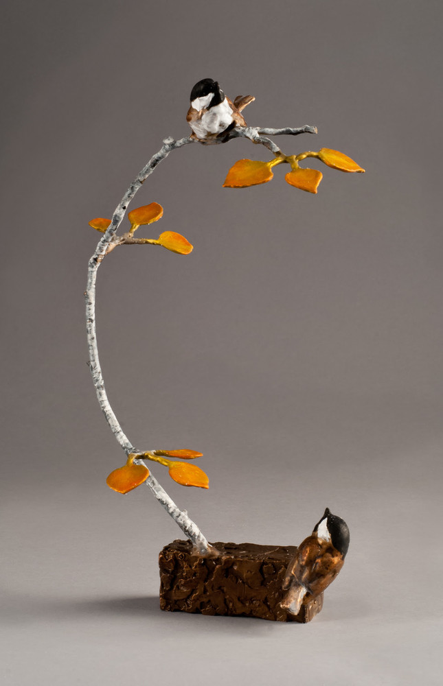 "Chickadee Bronze Sculpture ""Oh, There You Are"" 