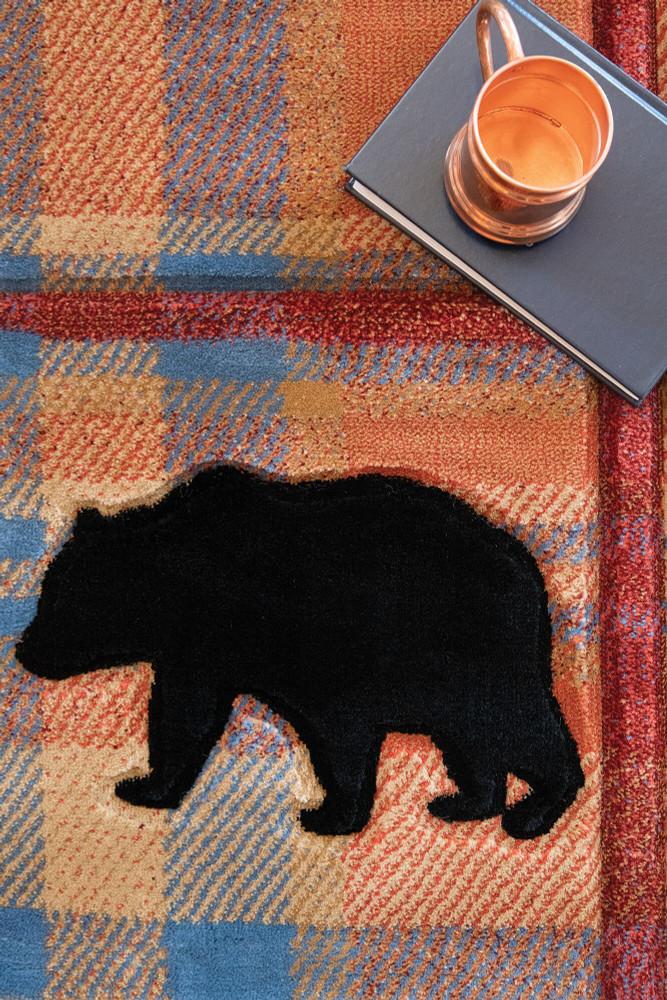 Bear Moose Plaid Cottage Nomad 5x8 Area Rug   United Weavers   2055-40075-69