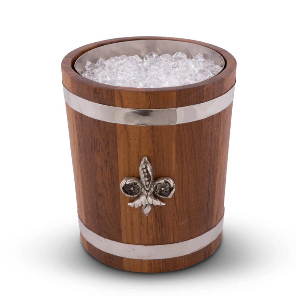 Fleur de Lis Teak Wood Ice Bucket | Vagabond House | E238FL