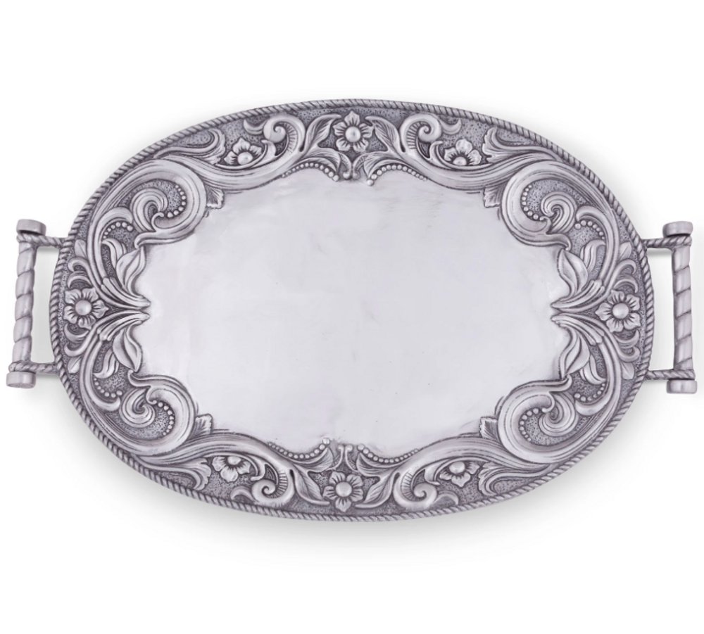 Western Leather Tooled Aluminum Serving Tray | Arthur Court Designs | 111W14