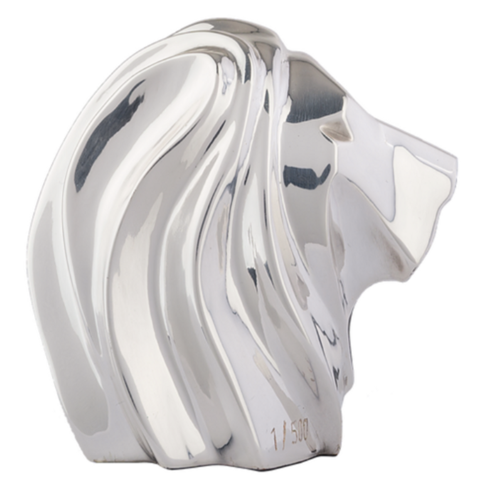 Lion Head Abstract Silver Plated Sculpture   RV32   D'Argenta