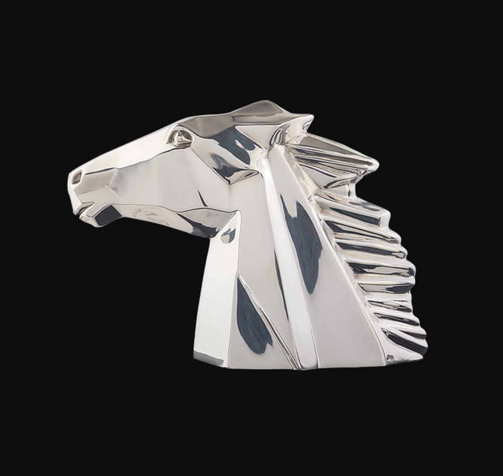 Horse Head Silver Plated Abstract Sculpture   RV39   D'Argenta