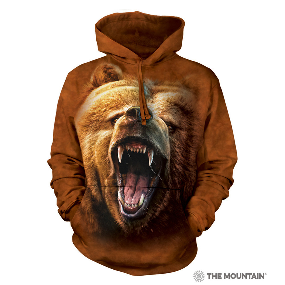 Grizzly Bear Growl Unisex Hoodie | The Mountain | 723526 | Grizzly Bear Sweatshirt