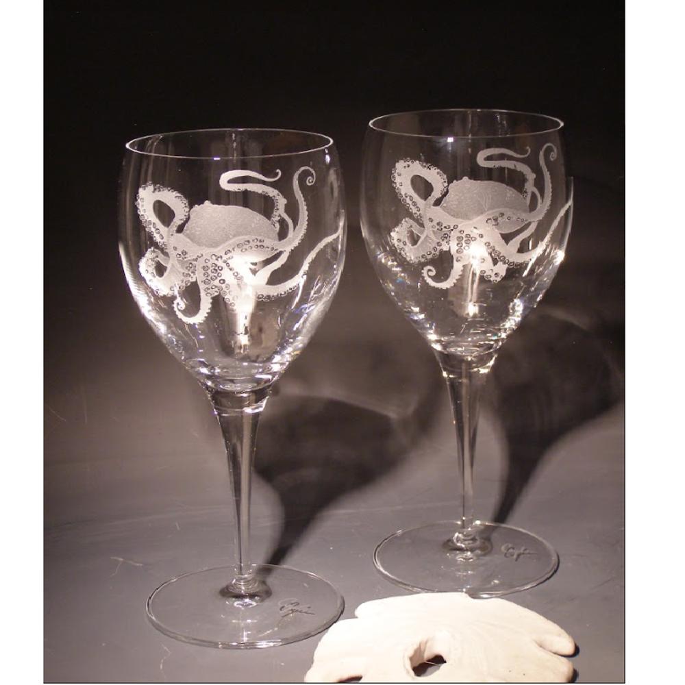 Octopus Chablis Crystal 13 oz Wine Glass Set of 2 | Evergreen Crystal |  ECSS-60627