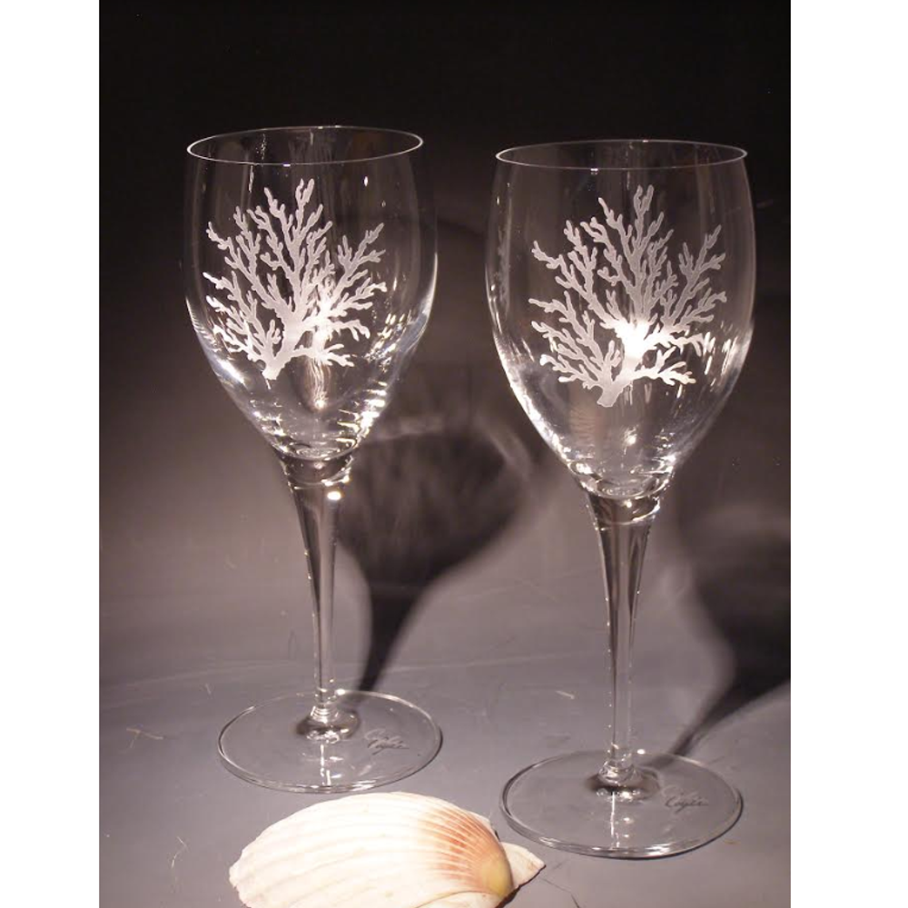 Coral Chablis Crystal 13 oz Wine Glass Set of 2 | Evergreen Crystal | ECSS-63627