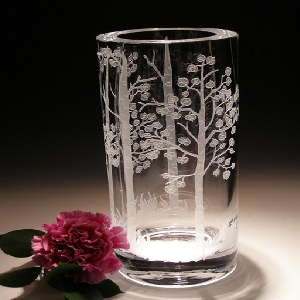 Aspen Trees Crystal Cylinder Vase   Evergreen Crystal   ECTR-12007
