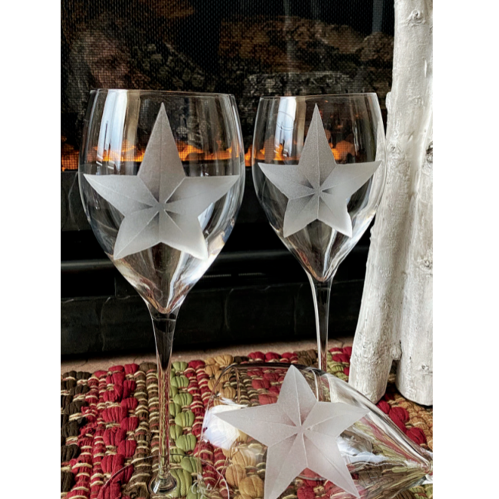 Star Crystal 11 oz Wine Glass Set of 2    Evergreen Crystal   ECWS-18614a