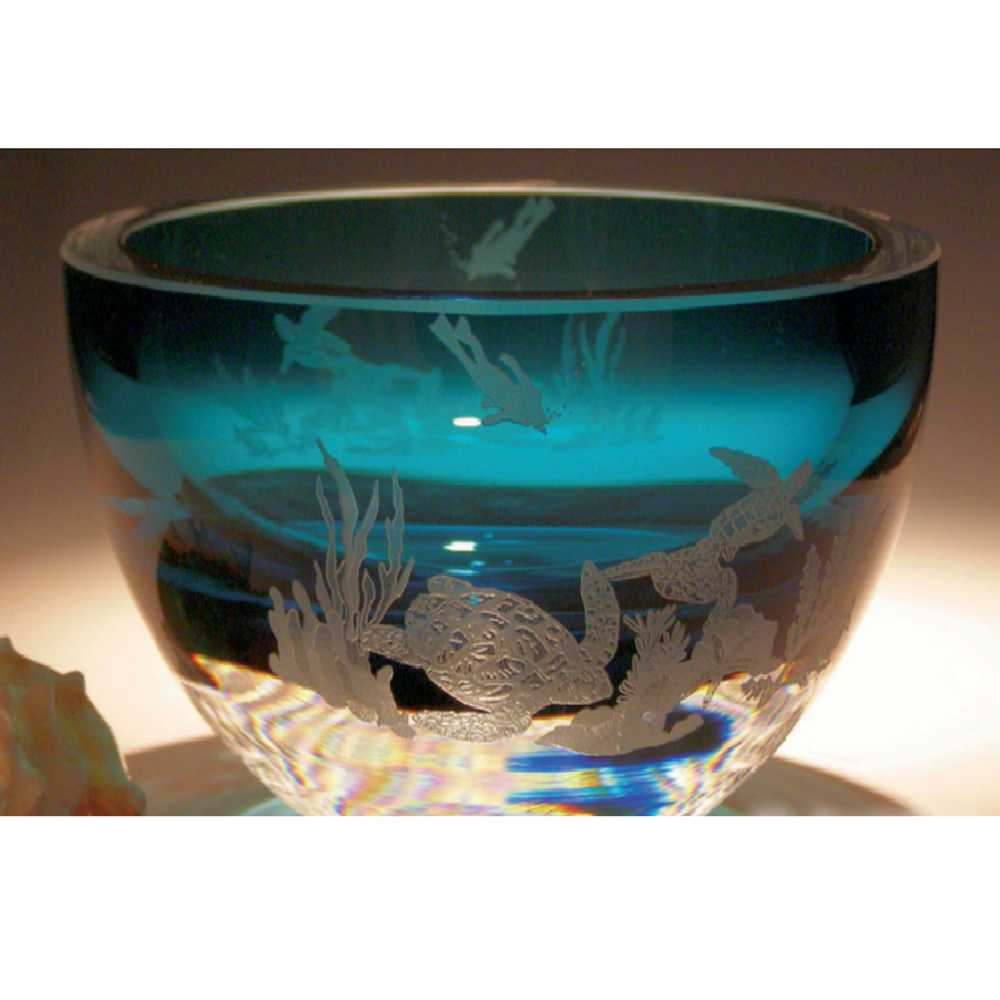 Sea Turtle with Scuba Peacock Crystal Bowl | Evergreen Crystal | ECSS-65104p