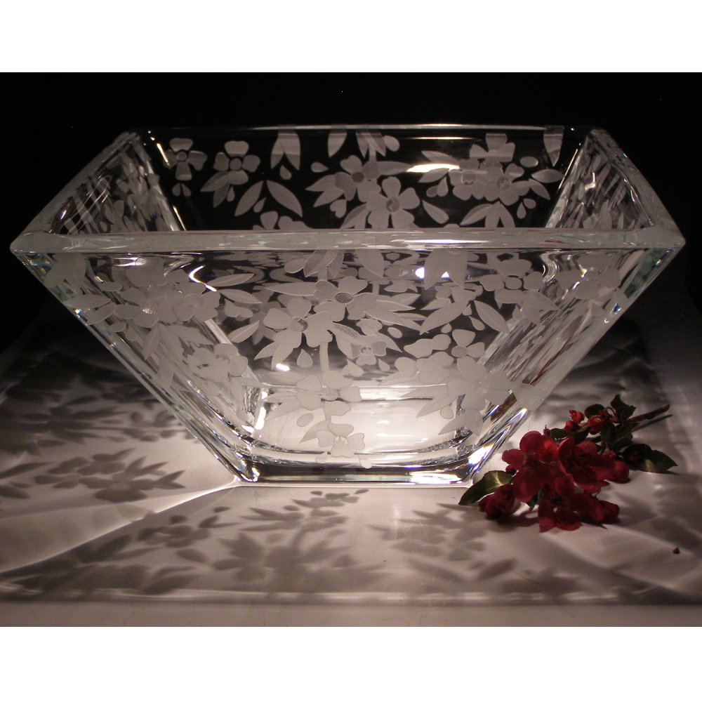 Cherry Blossom Crystal Centerpiece Square Bowl | Evergreen Crystal | ECTR-38119