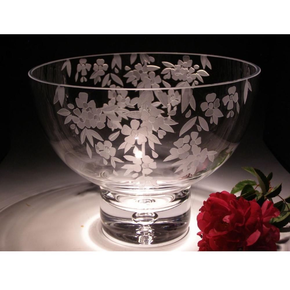 Cherry Blossom Crystal Pedestal Bowl | Evergreen Crystal | ECTR-38110