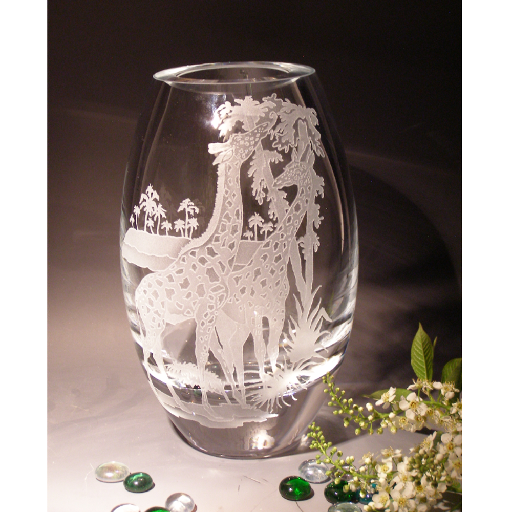 "Giraffe ""Days of Eden"" Etched Crystal Oslo Vase 