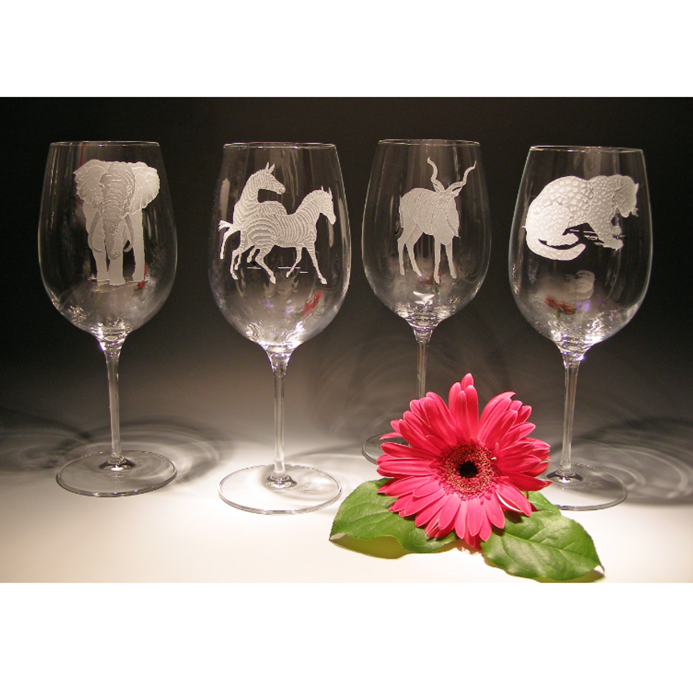 African Safari Crystal 26 oz. Wine Glass Set of 4   Evergreen Crystal   ECAF-01612