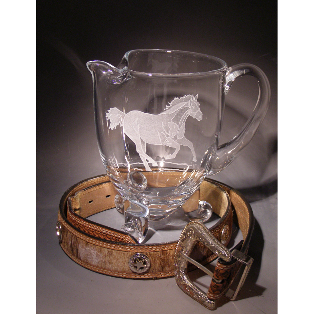 Horse Crystal Medium Footed Pitcher | Evergreen Crystal | ECW-01637