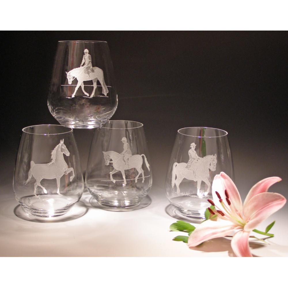 Equestrian 23 oz Stemless Wine Glass Set of Four | Evergreen Crystal | ECWS-32623