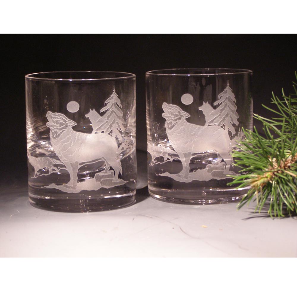 Wolf Etched Crystal 11 oz DOF Glass Set of 2 | Evergreen Crystal | ECNA-16620