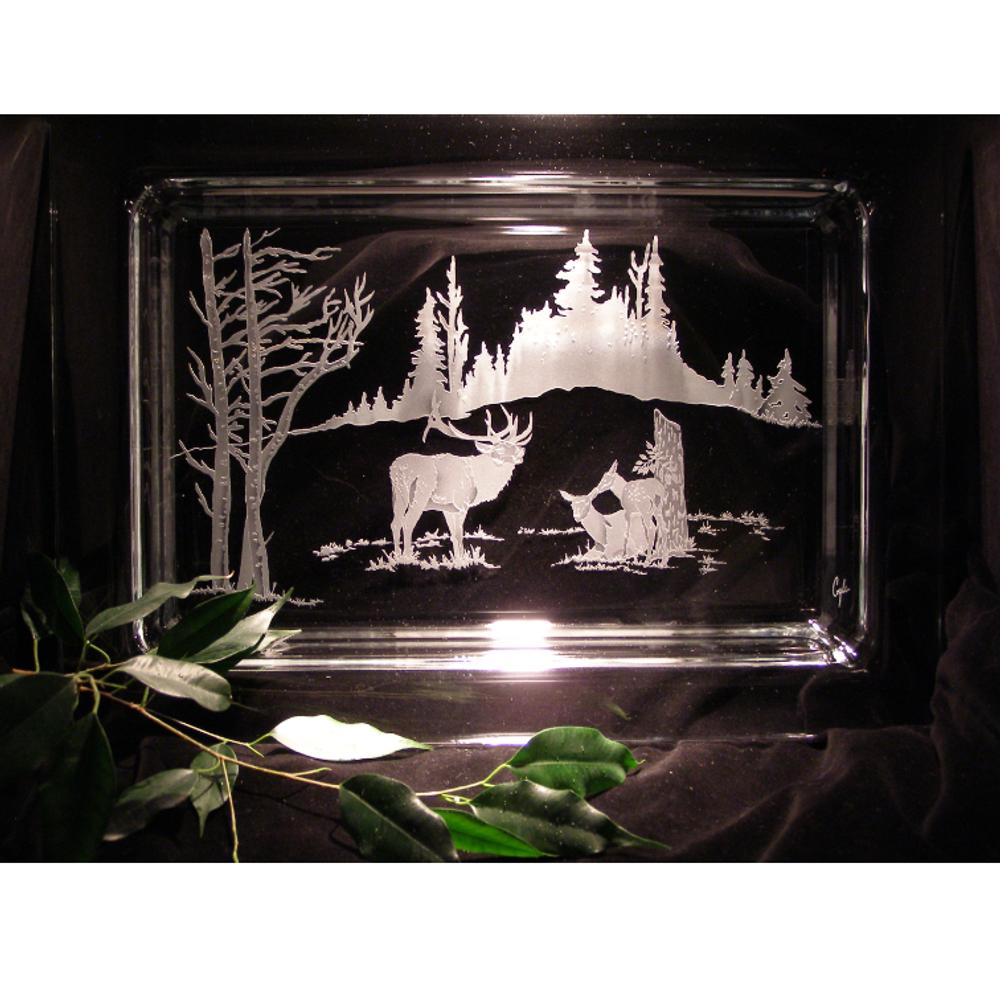 Elk Cow with Calf Crystal Centerpiece Tray | Evergreen Crystal | ECNA-75312