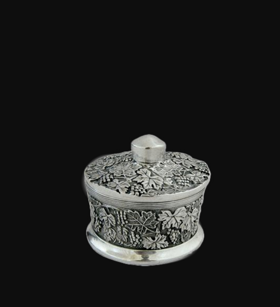 Botanical Leaf Sterling Silver Plated Round Jewelry Box | D'Argenta | U-306