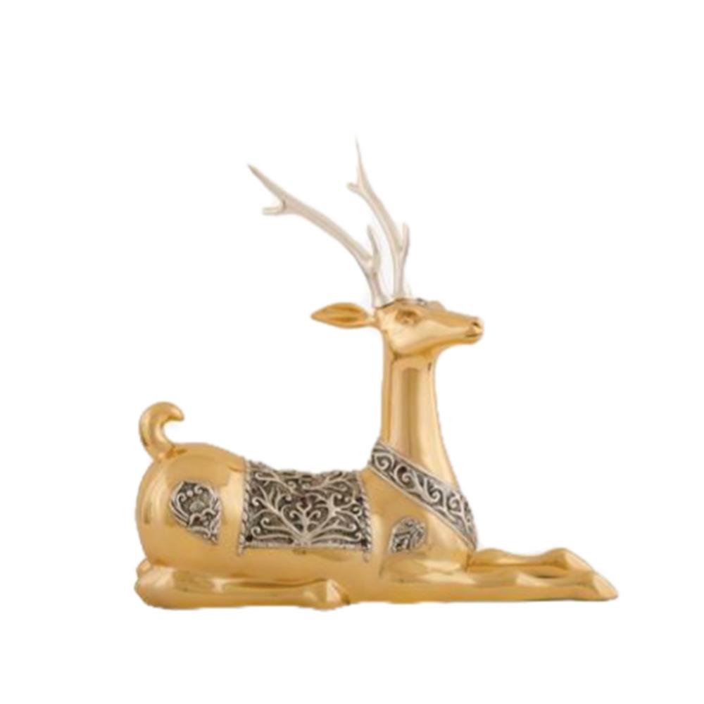 Resting Thai Deer 24K Gold Plated Sculpture   5037   D'Argenta