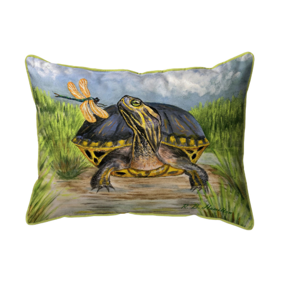 Dragonfly to Turtle Indoor Outdoor Pillow 20x24 | Betsy Drake | BDZP1182