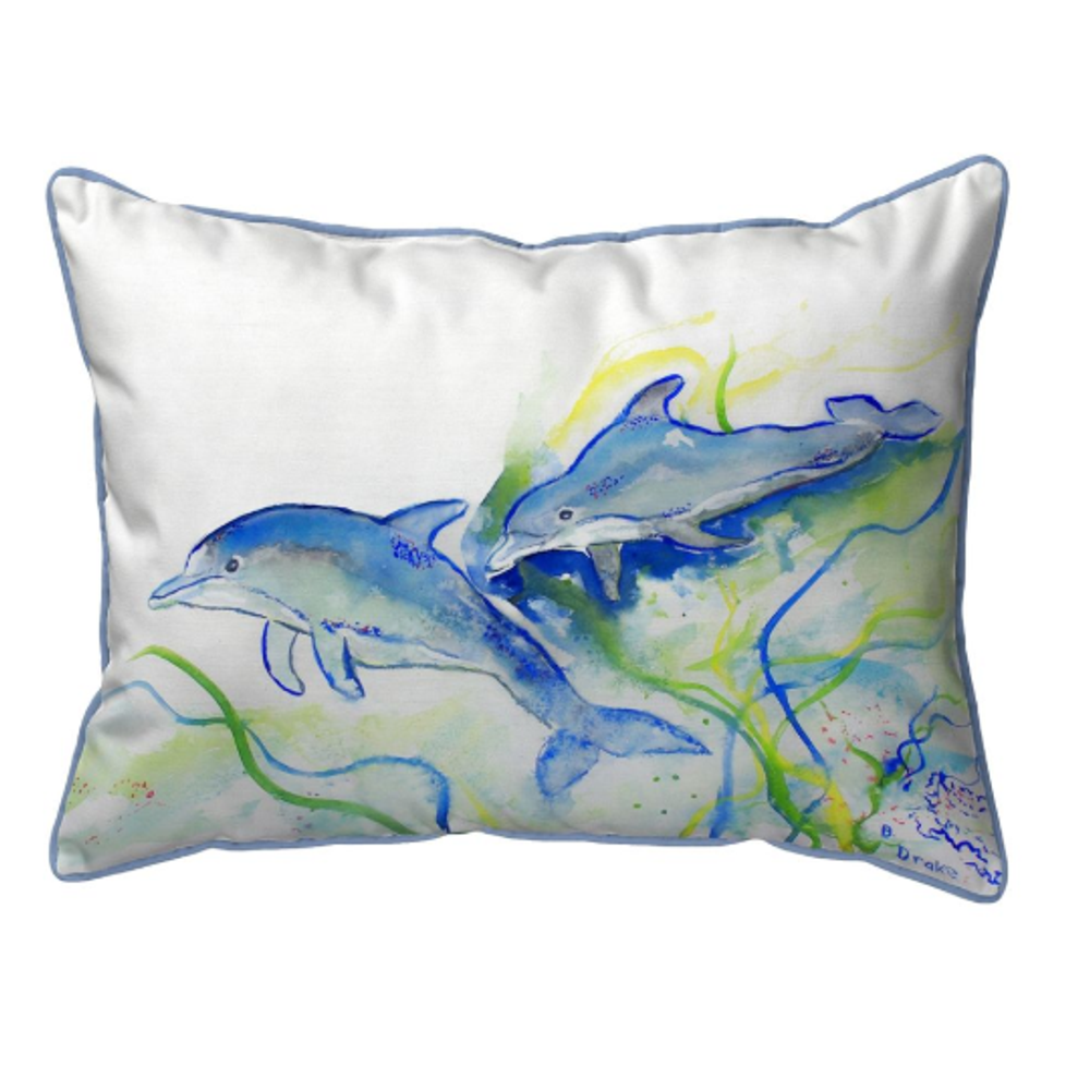 Dolphins Indoor Outdoor Pillow 20x24 | Betsy Drake | BDZP002
