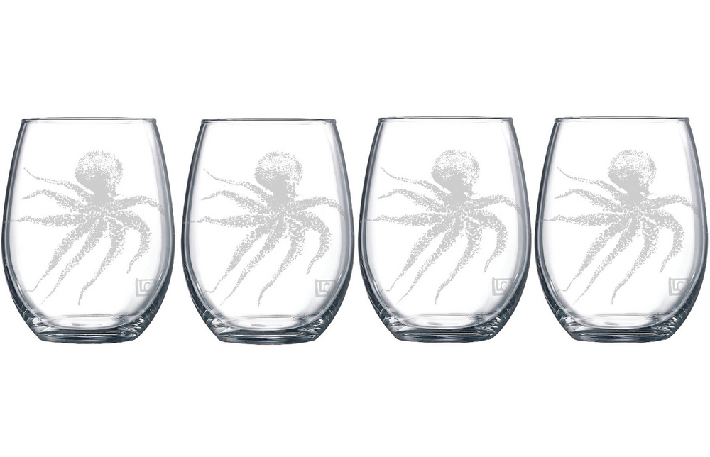 Etched Octopus Stemless Wine Glass Set of 4