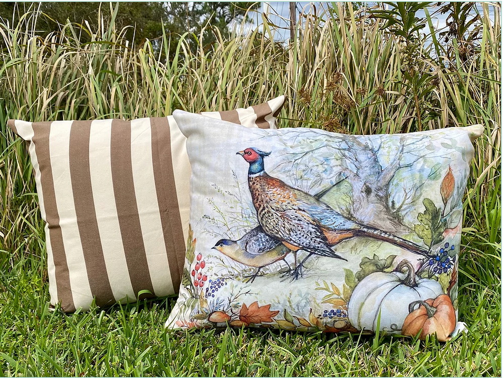 Pheasant & Pumpkin  Indoor Outdoor Pillow 19x24