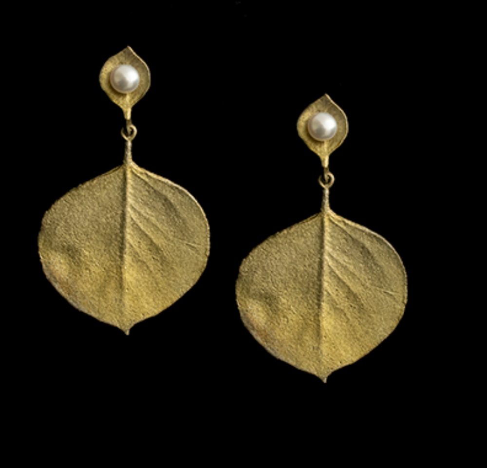 Pearl and Eucalyptus Gold Wire Earrings | Michael Michaud | 3596BZ | Nature Jewelry