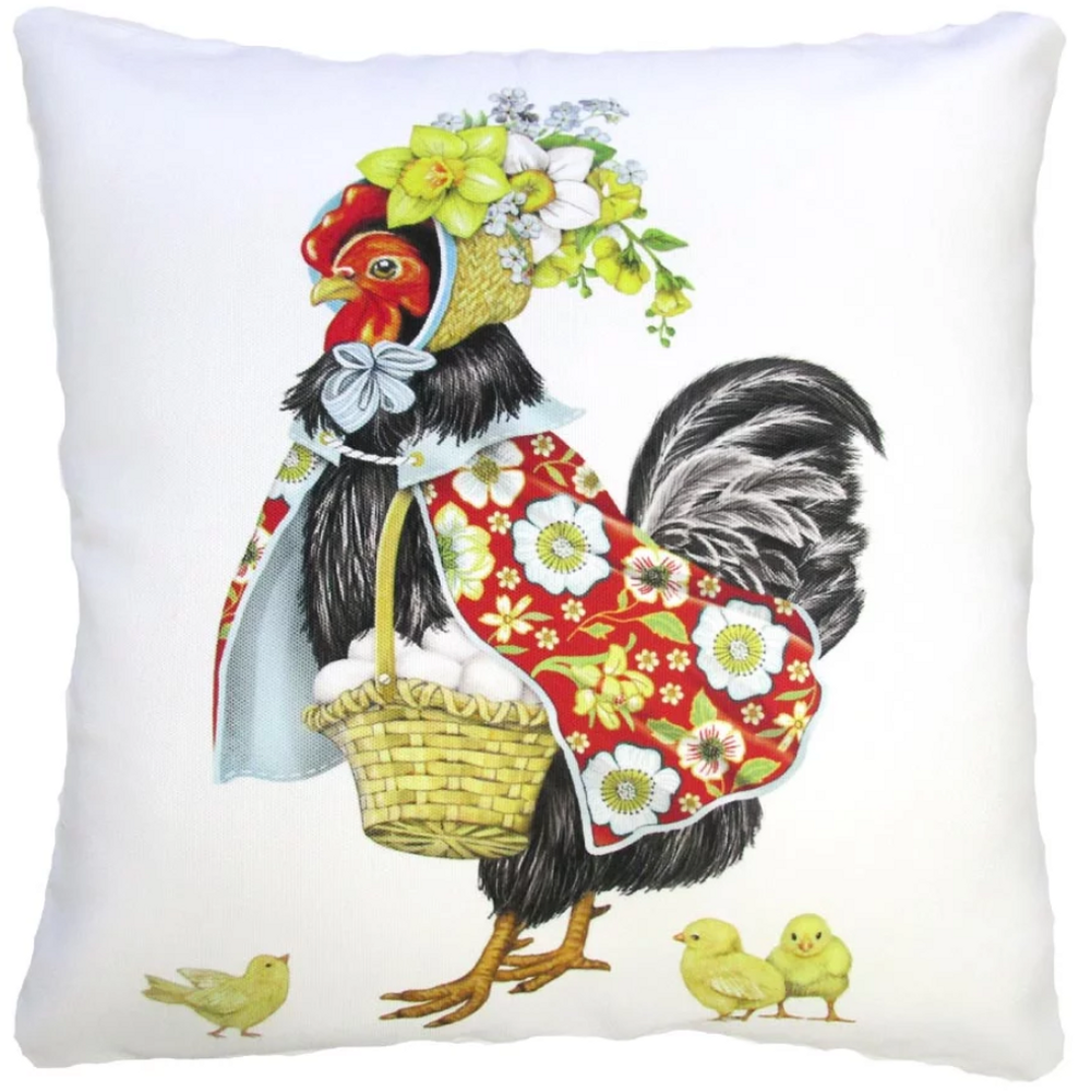 Decorated Rooster Indoor Outdoor Pillow 18x18   Magnolia Casual   MCMLT903LCS