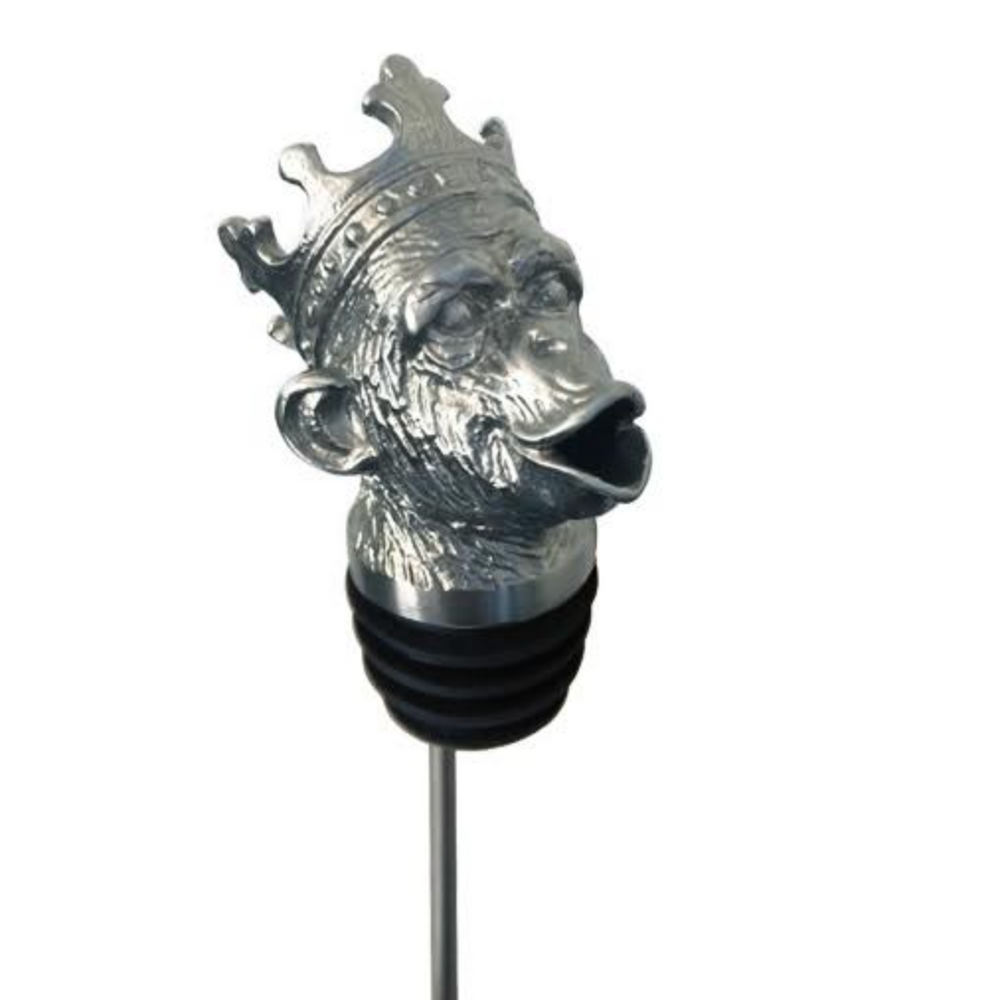 Stainless Steel Carved Monkey King Wine Pourer - Aerator | Menagerie | M-SSPC12-MON