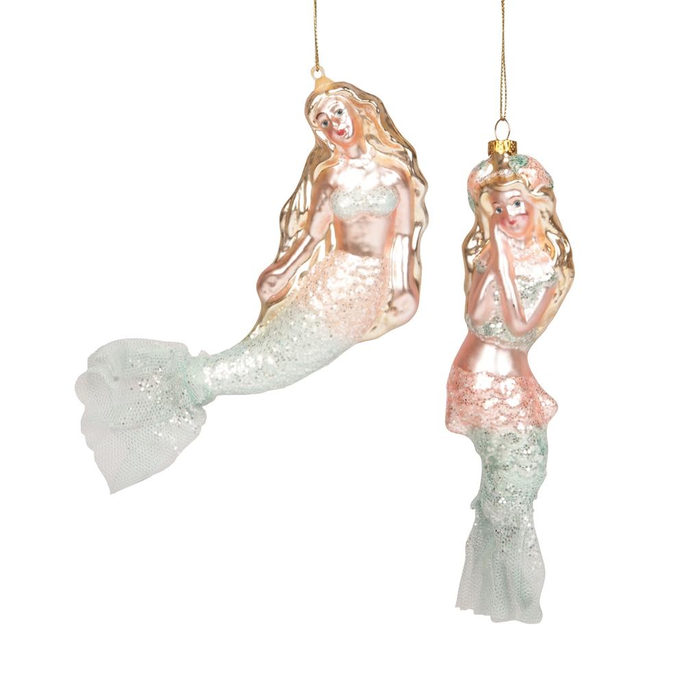 Glass Glamour Swimming Mermaid Ornament   ORN73619 -2   Gallerie II