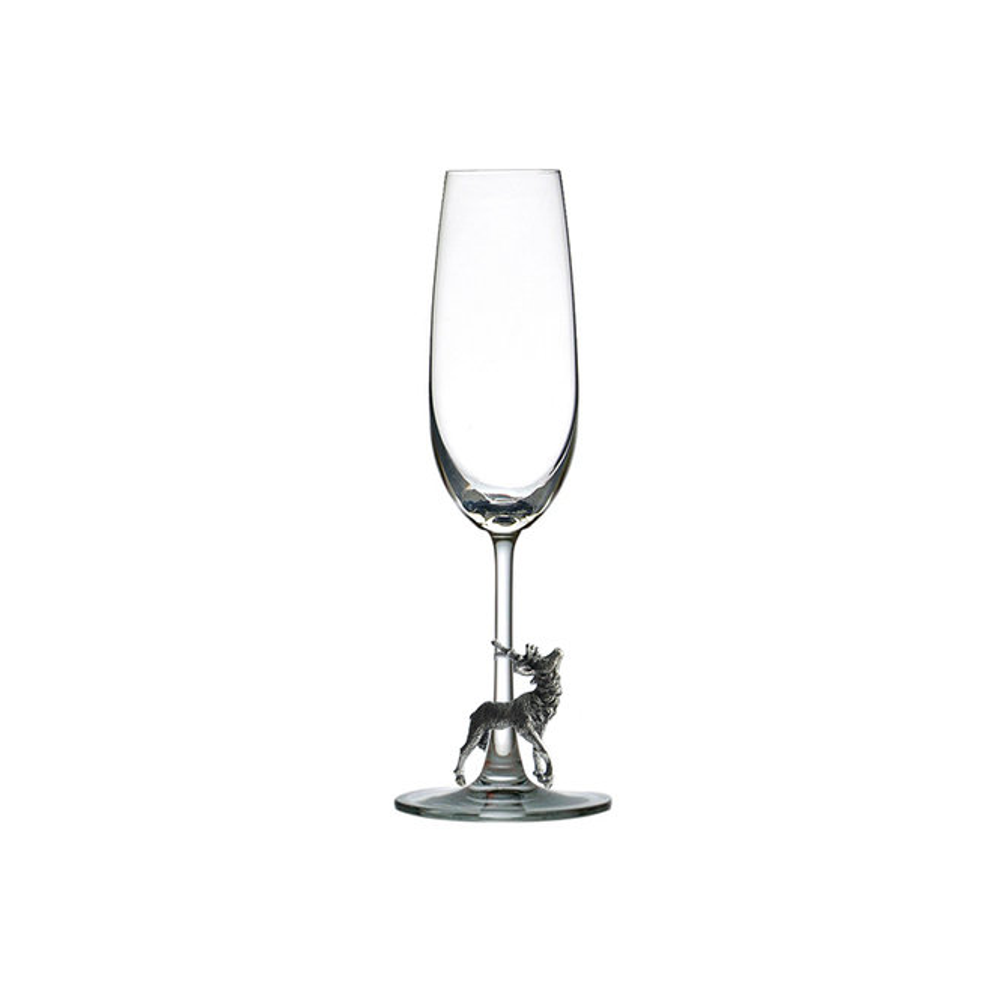 Carved Pewter Stag Champagne Flute | Menagerie | M-CHS1-053
