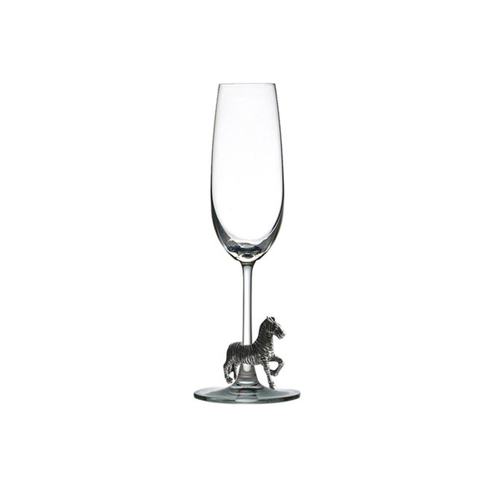 Carved Pewter Zebra Champagne Flute | Menagerie | M-CHZ1-125