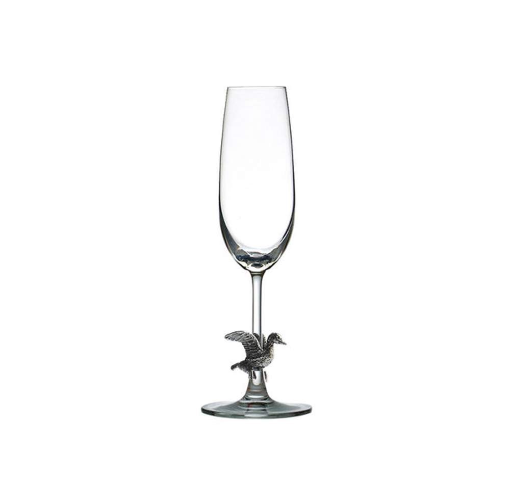 Carved Pewter Duck Champagne Flute