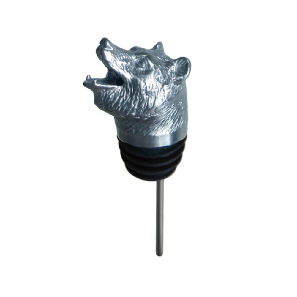Stainless Steel Carved Grizzly Bear Wine Pourer - Aerator   Menagerie   M-SPF2-Grizzly Bear