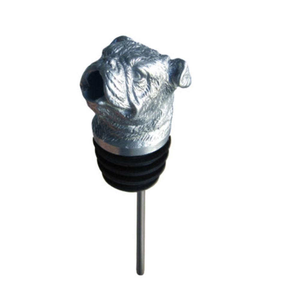 Stainless Steel Carved Bulldog Wine Pourer - Aerator | Menagerie | M-SSPB2-076