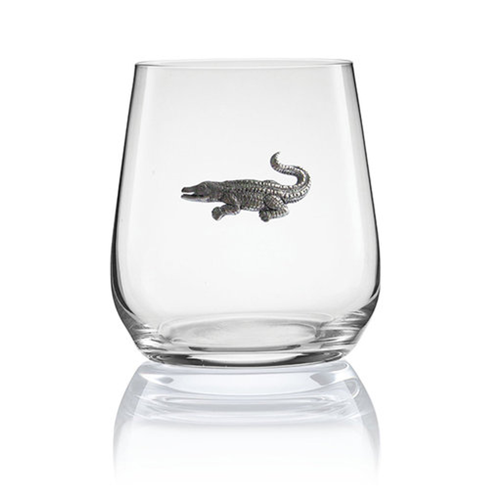 Alligator Stemless Wine/Cognac Glass Set of 2 | Menagerie | M-SRWA2-072