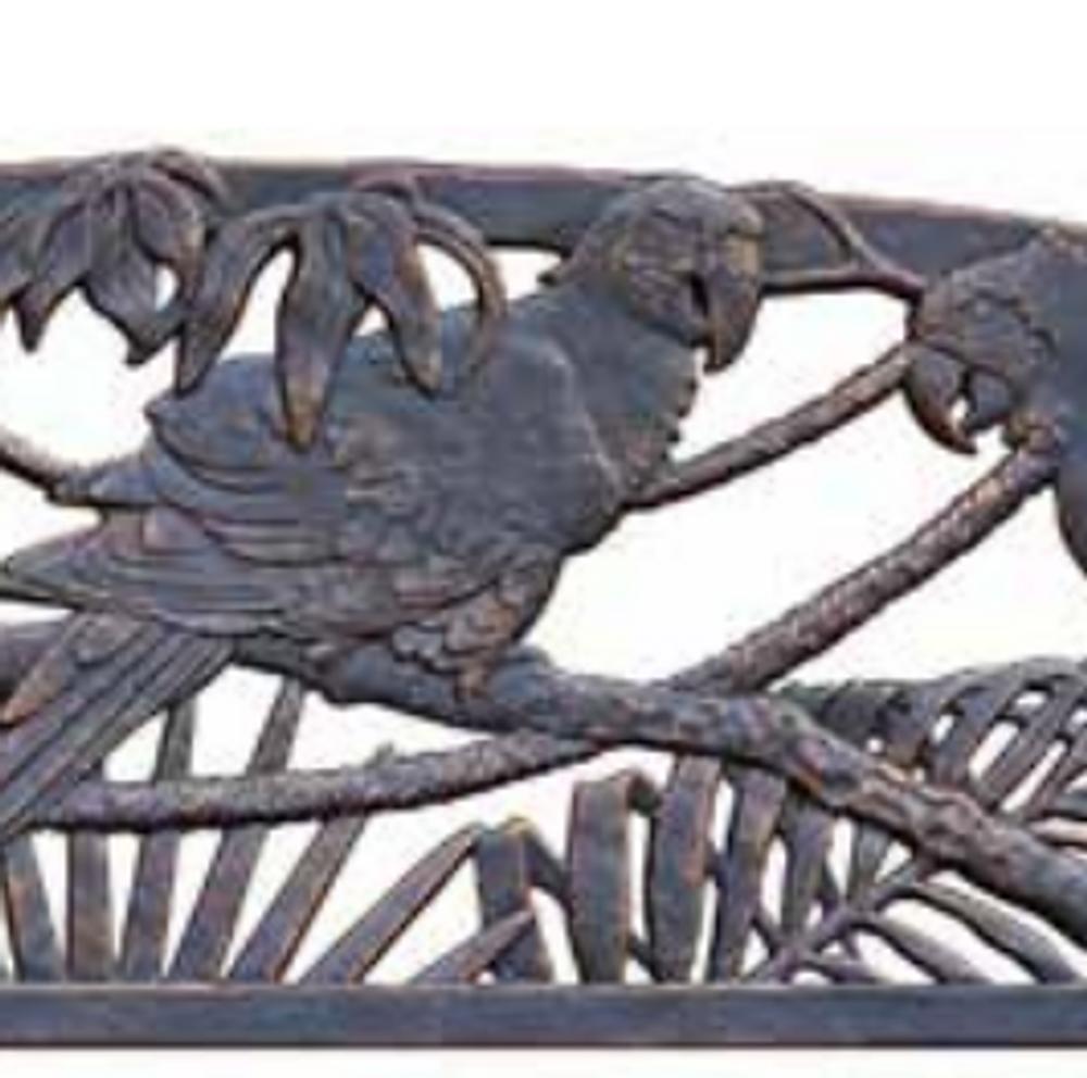 Parrot Cast Iron Garden Bench | Painted Sky | PSPB-PRT-100BR