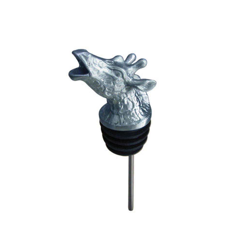 Stainless Steel Carved Giraffe Wine Pourer - Aerator | Menagerie | M-SSPG2-095