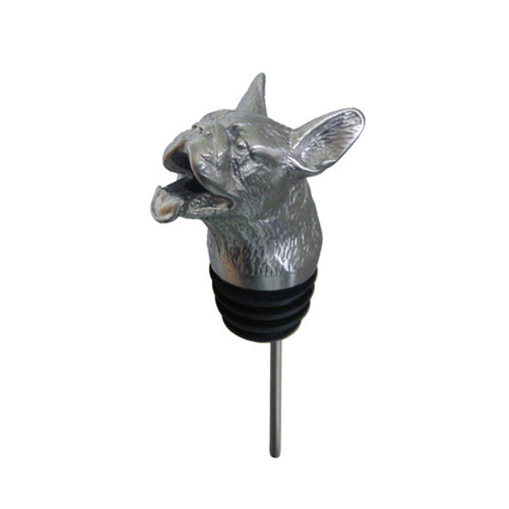 Stainless Steel Carved Bulldog Wine Pourer - Aerator | Menagerie | M-SSPF3-173
