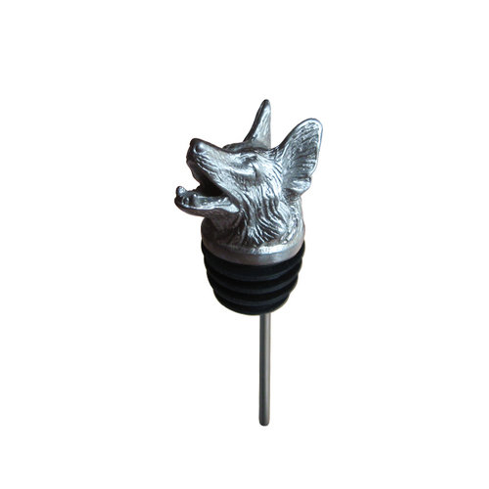 Stainless Steel Carved Bulldog Wine Pourer - Aerator   Menagerie   M-SSPG6-133