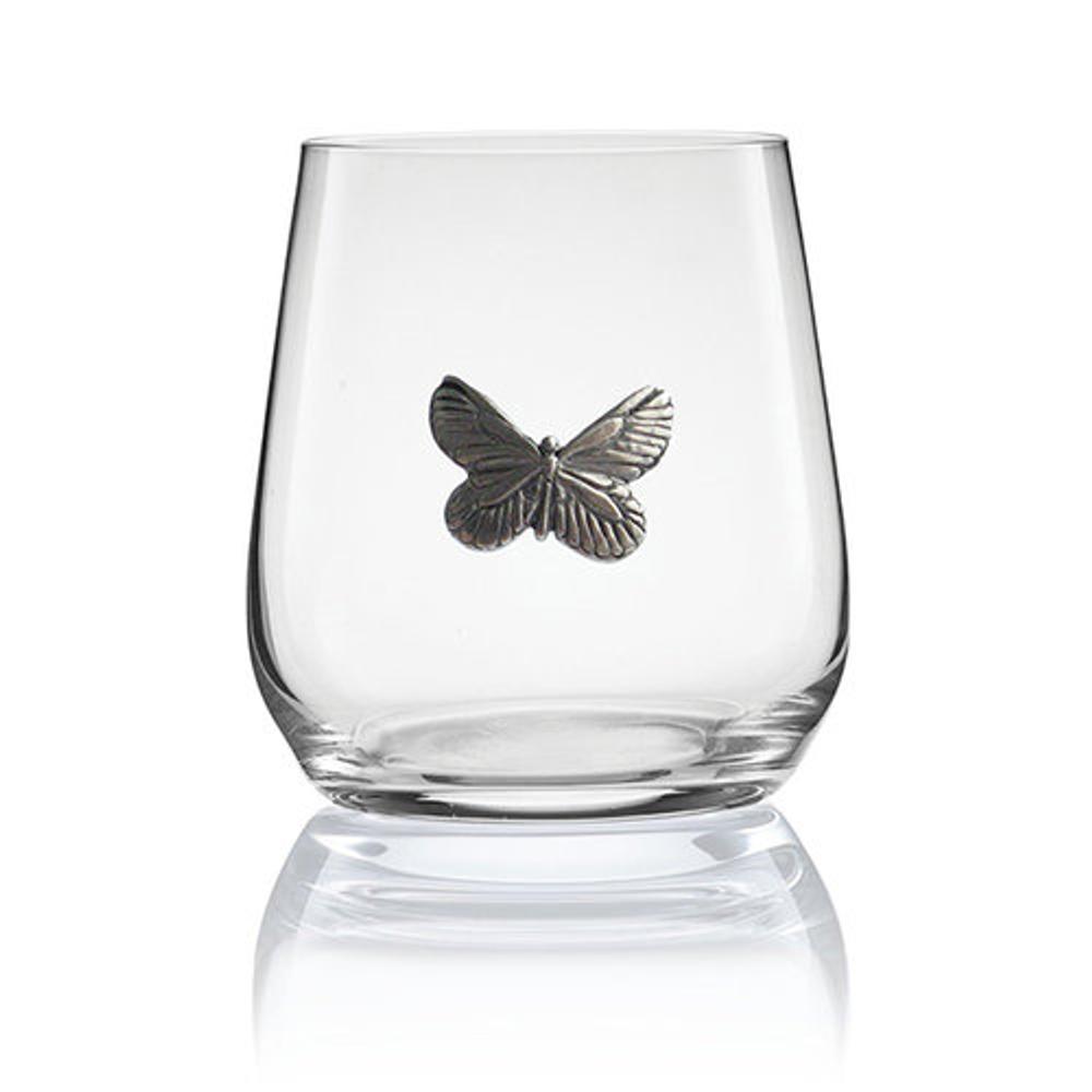 Butterfly Stemless Wine/Cognac Glass Set of 2 | Menagerie | M-SRWB6-117