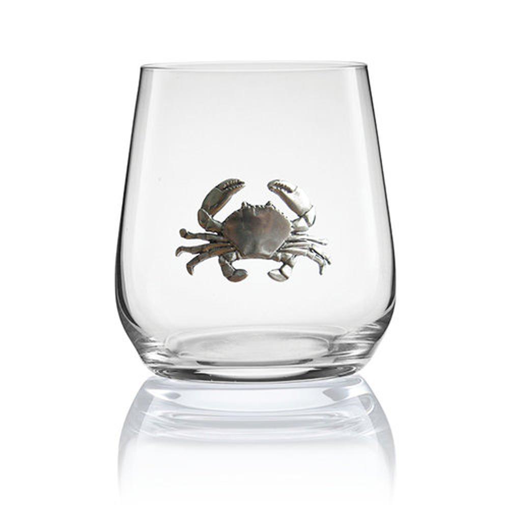 Crab Stemless Wine/Cognac Glass Set of 2 | Menagerie | M-SRW1-CR007